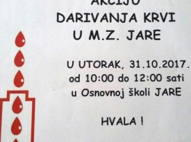 Prva povijesna akcija dobrovoljnog darivanja krvi u Jarama